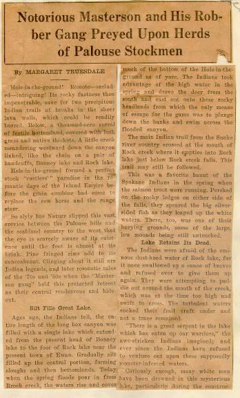 Masterson Gang Article, 1935.