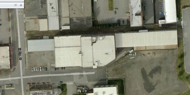 Airial view of the Marshall Wells Warehouse
